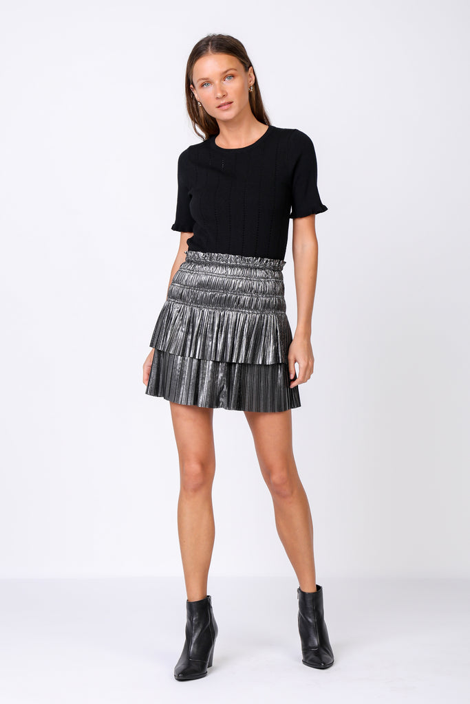 Metallic Pleated Tiered Mini Skirt