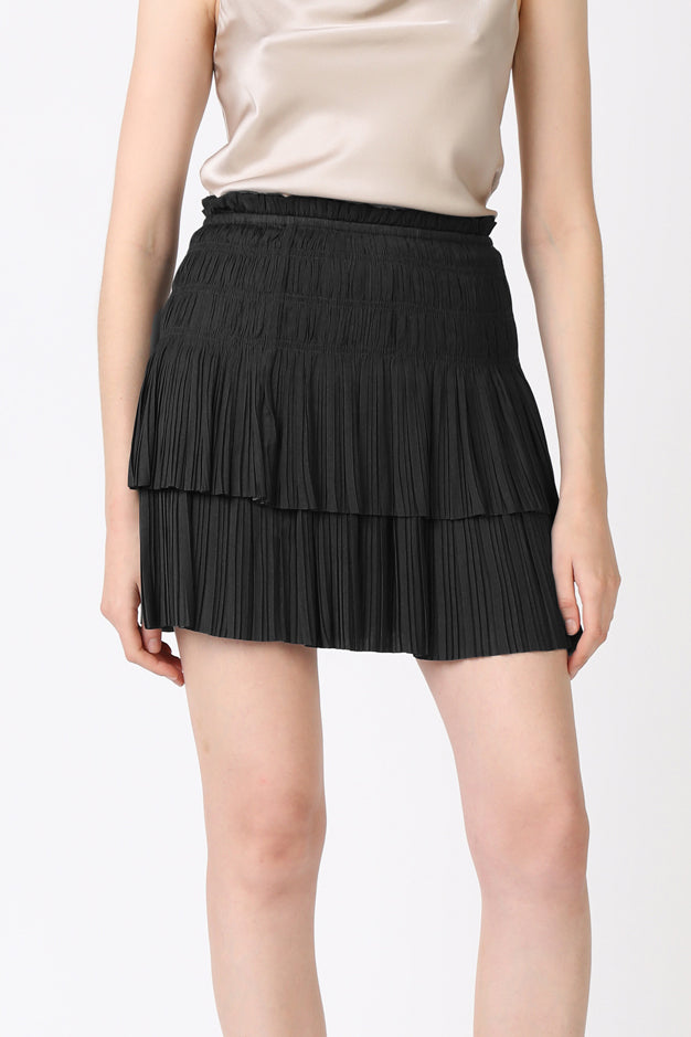 Solid Pleated Tiered Mini Skirt