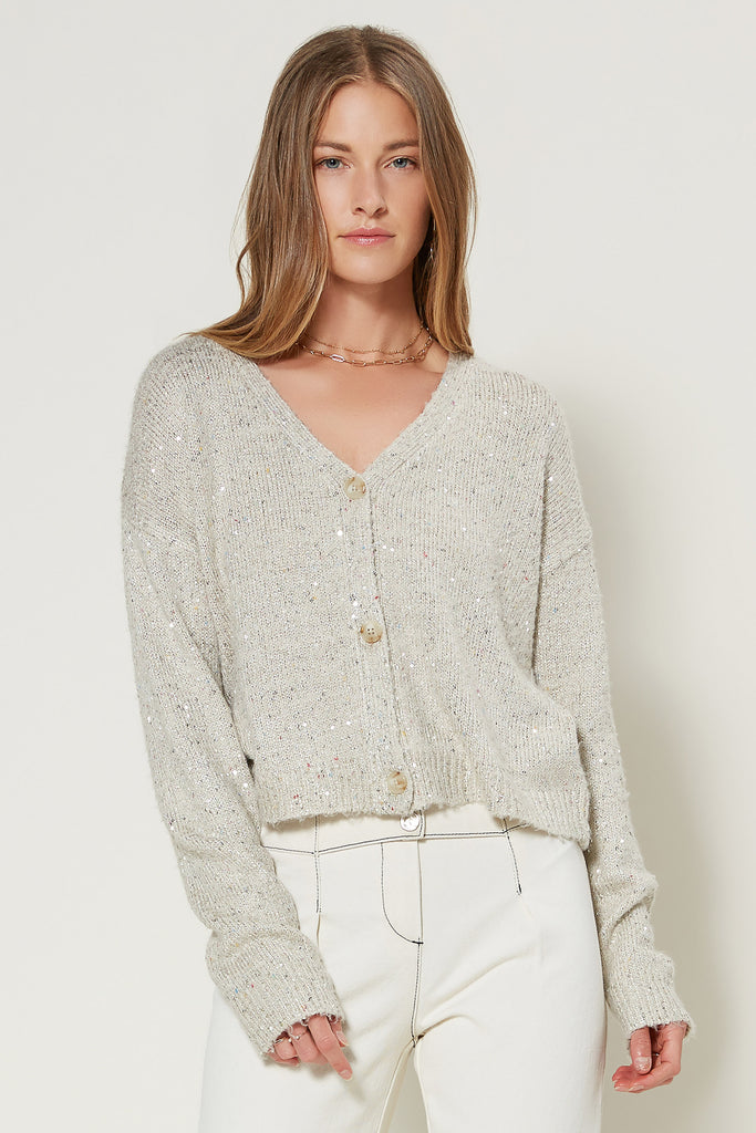 Shimmer Button Up Cardigan