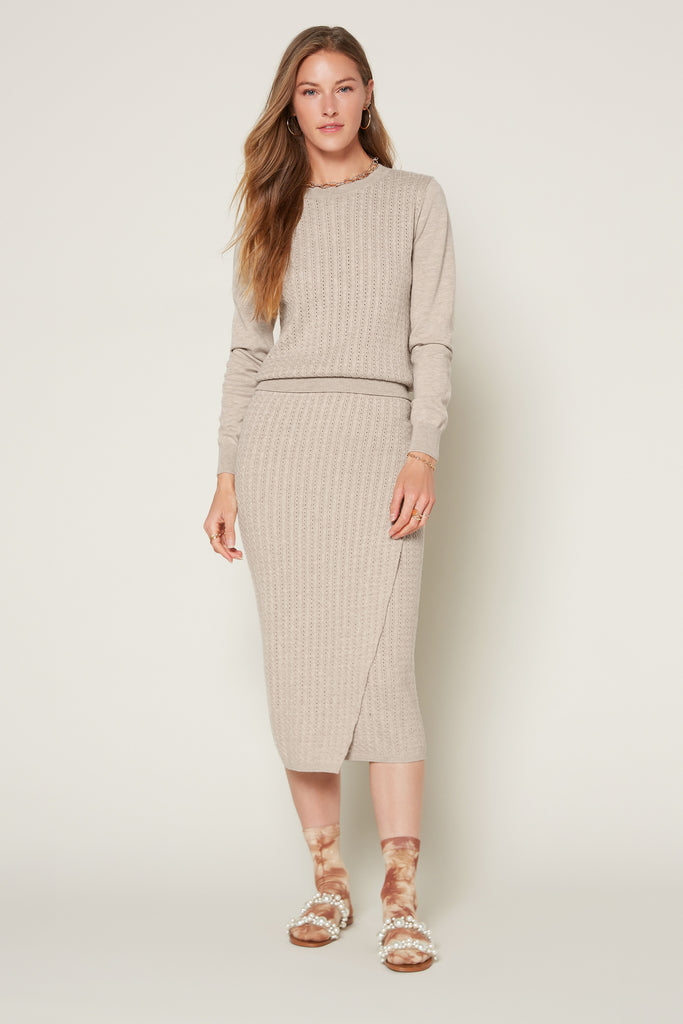 Cable Knit Midi Skirt
