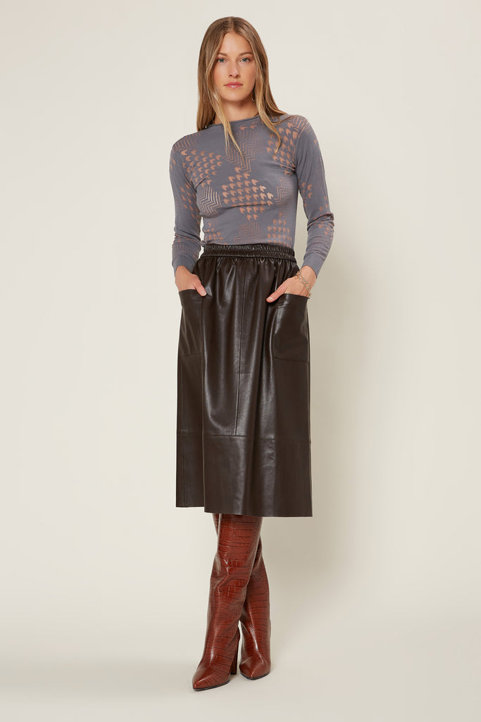 Faux Leather Midi Skirt with Pockets