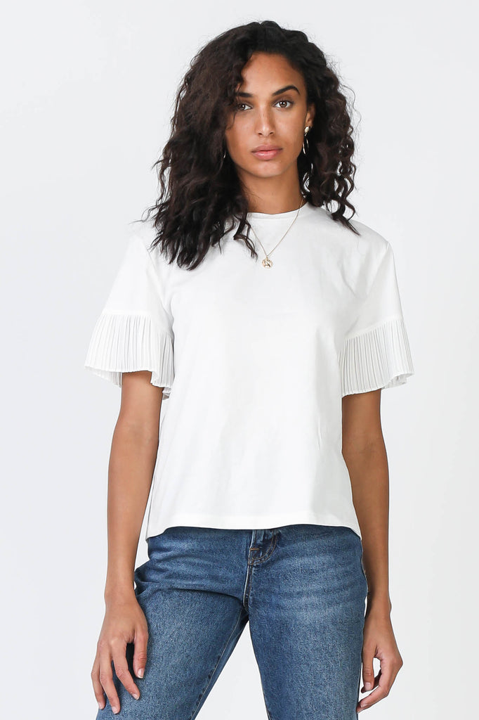 Pleated Sleeve Round Neck Tee