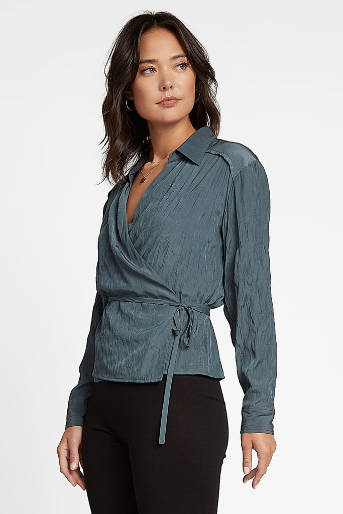 Surplice Wrap Collared Top