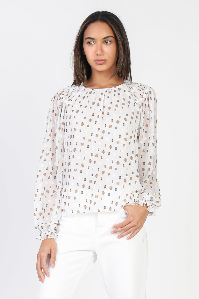 Multi Color Dot Raglan Blouse