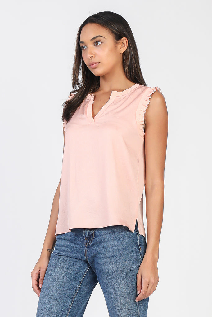 Ruffled Shoulder Tank Top