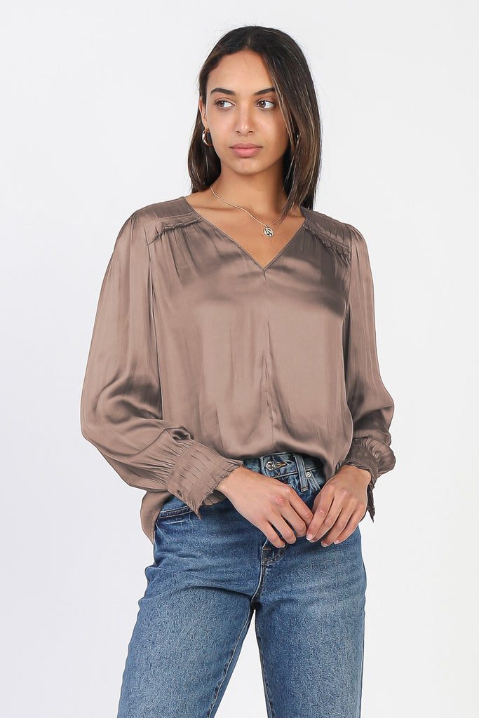 Pleated Picot Stitched Satin Blouse
