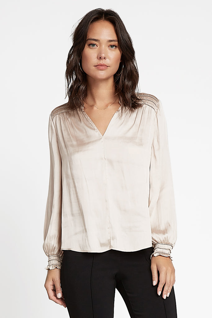 Satin Notch Neck Blouse