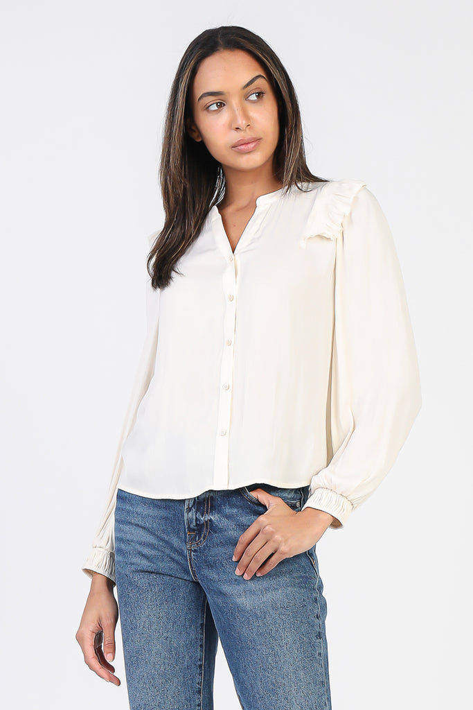 Ruffled Shoulder Button-Down Top