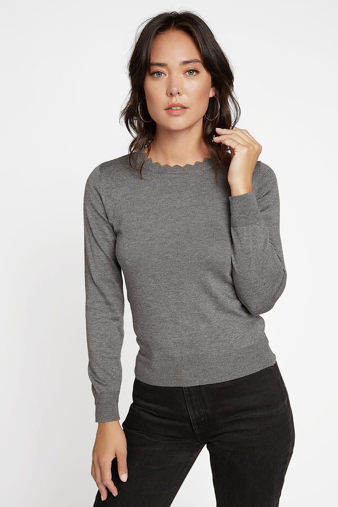 Scalloped Round Neck Sweater