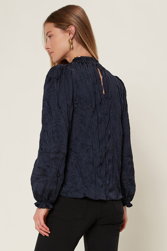 Crinkle Mock Neck Blouse