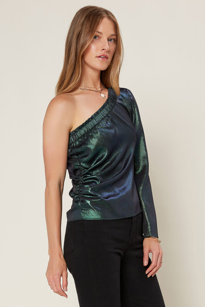 Metallic Foil Off-Shoulder Top