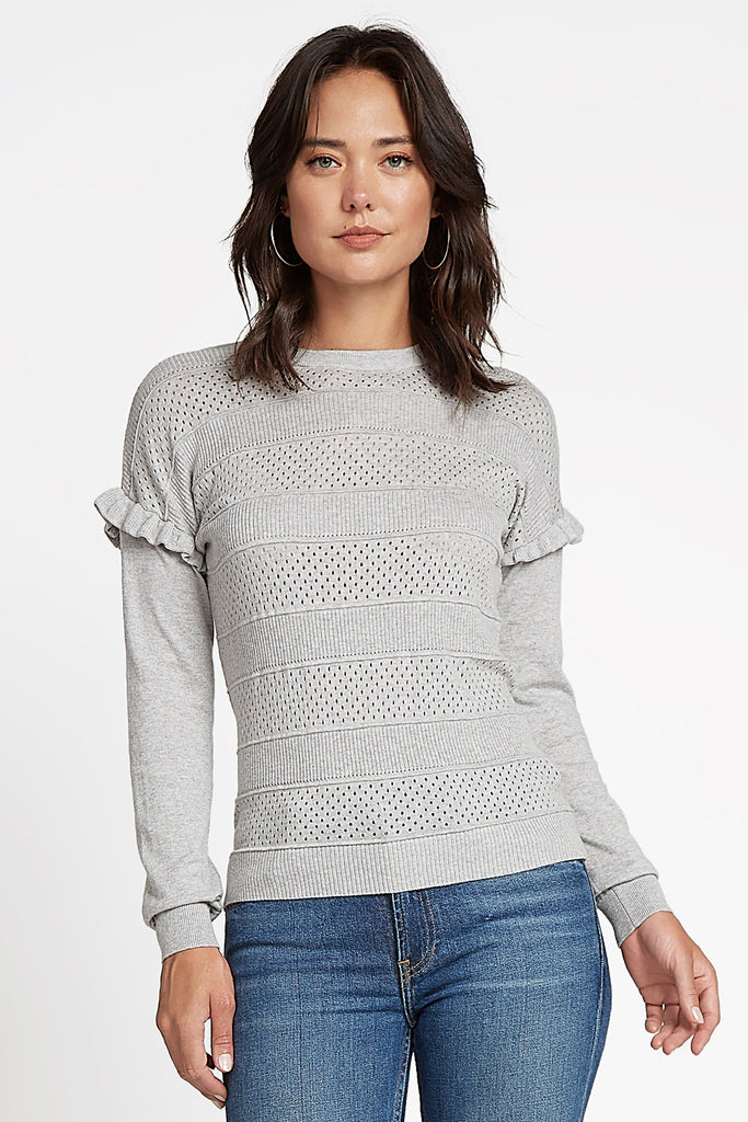 Ruffled Shoulder Sweater Top