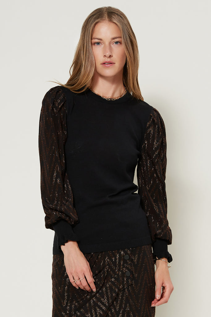 Metallic Contrast Woven Sleeve Sweater Top