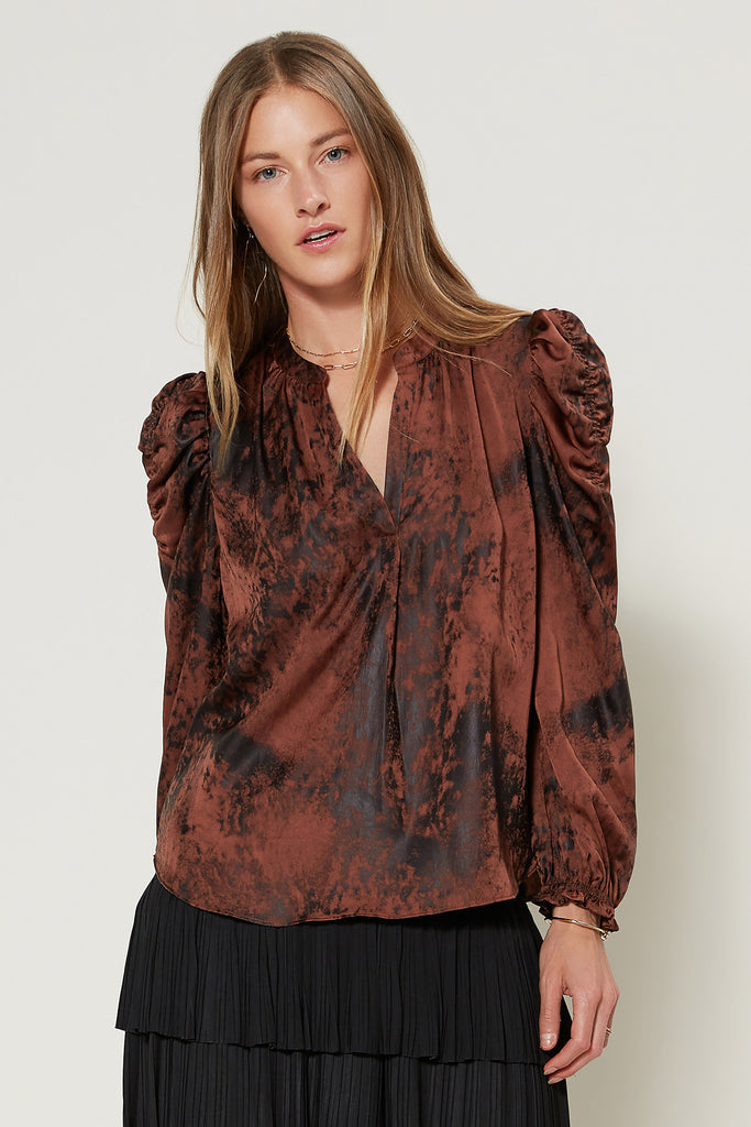 Shadow Tie Dye Ruched Shoulder Top