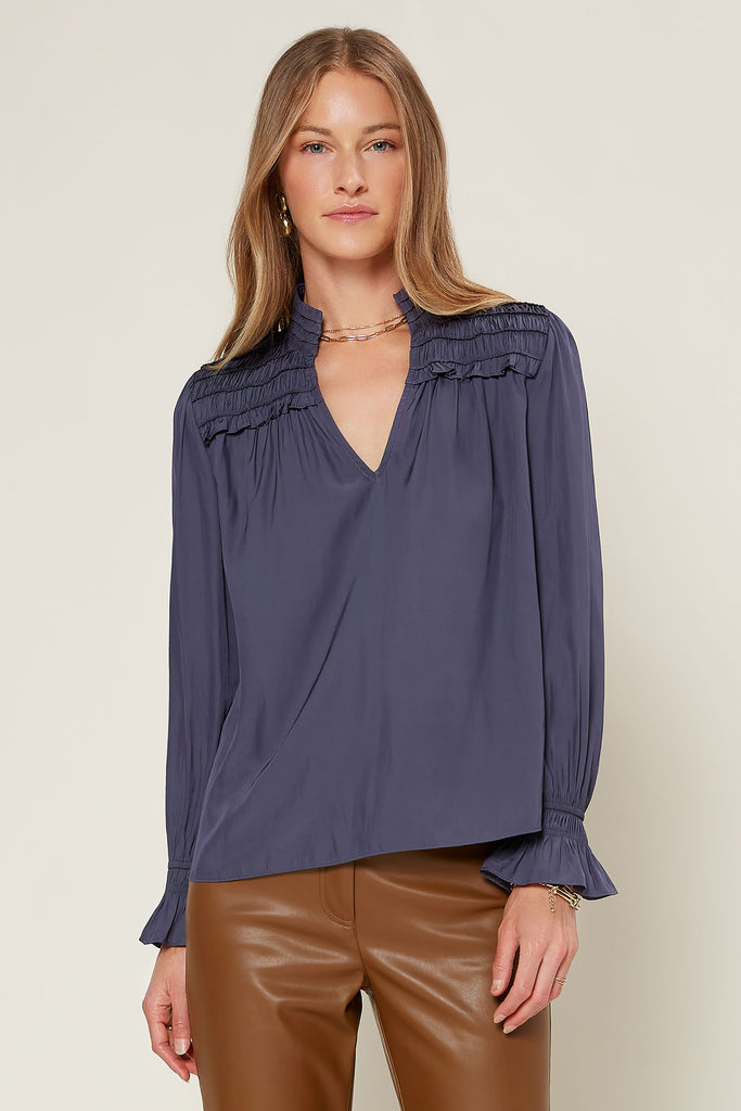 Split Mock Neck Yoke Blouse