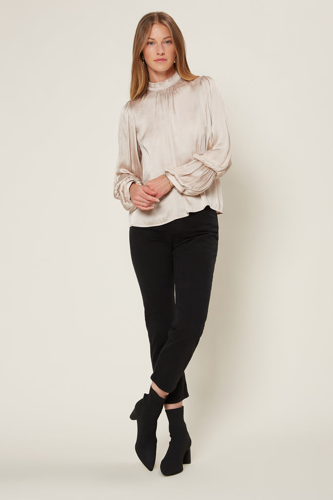 Mock Neck Tiered Sleeve Blouse