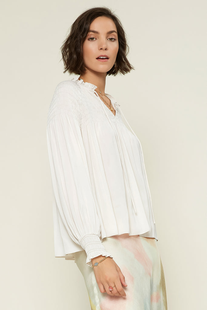 Ruffled Split Neck Blouse