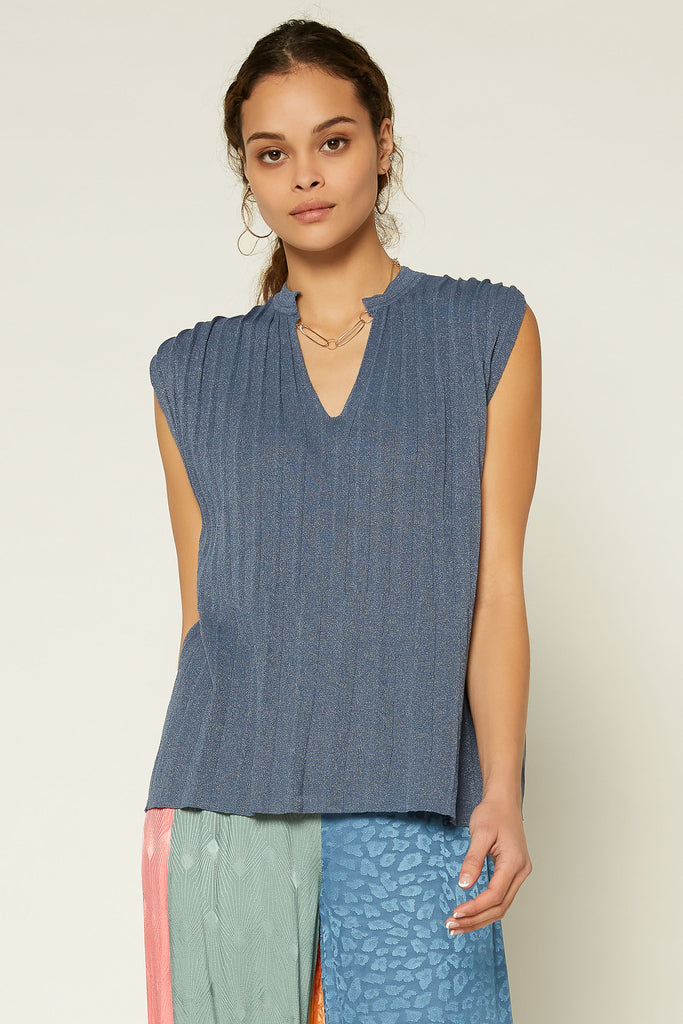 Pleated Knit Tank Top
