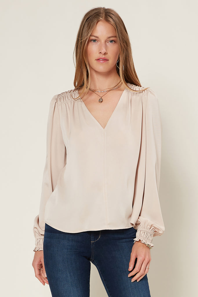 Smocked Shoulder V-Neck Blouse