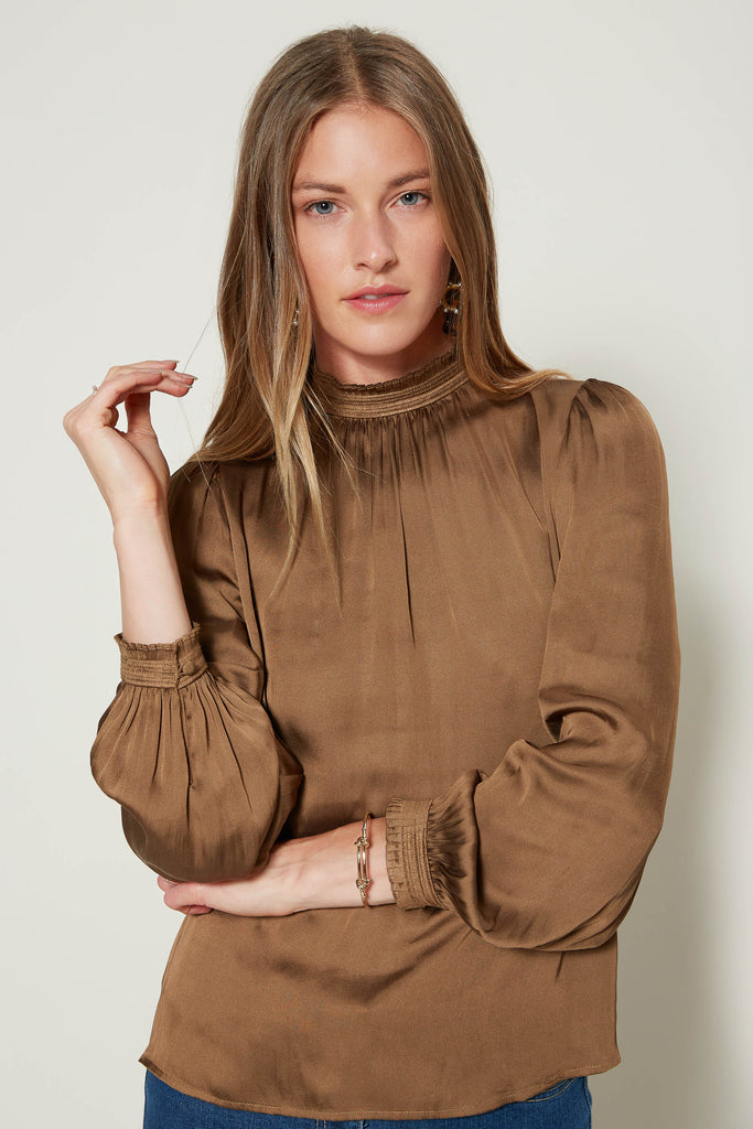 Mock Neck Satin Blouse