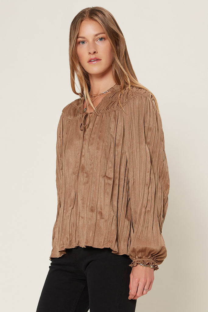 Crinkled Long Sleeve Blouse