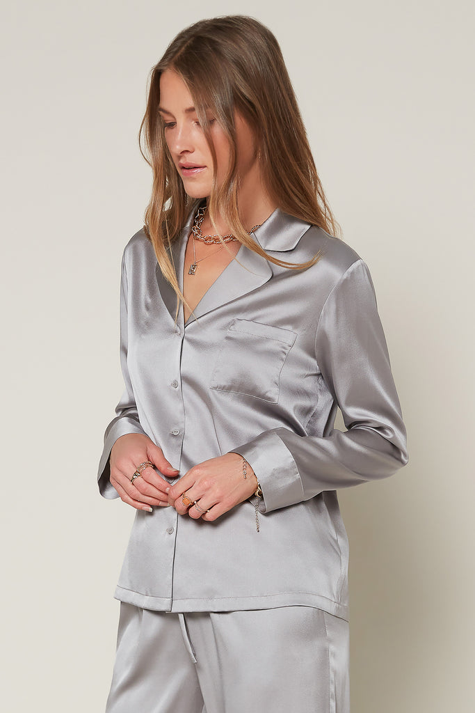 Silk Button Down Pajama Shirt