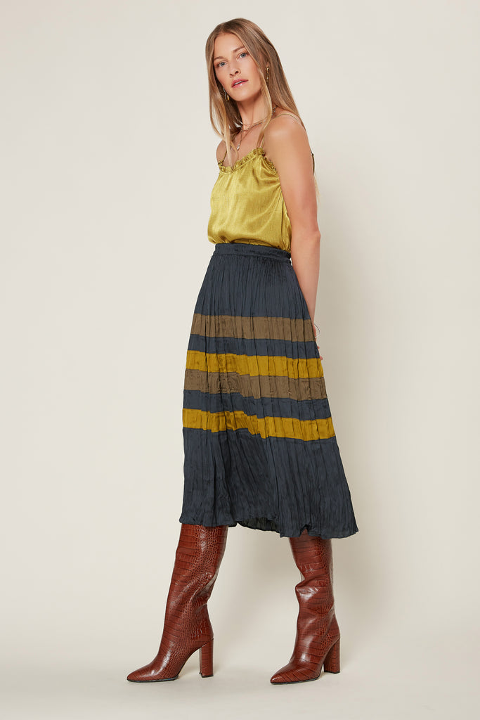 Color Block Crinkle Midi Skirt