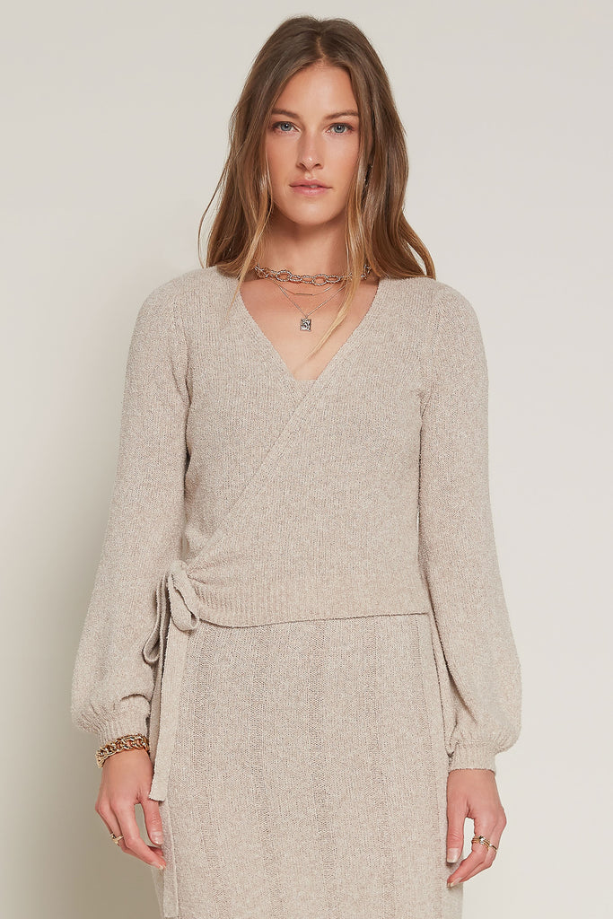 Surplice Wrap Sweater Top