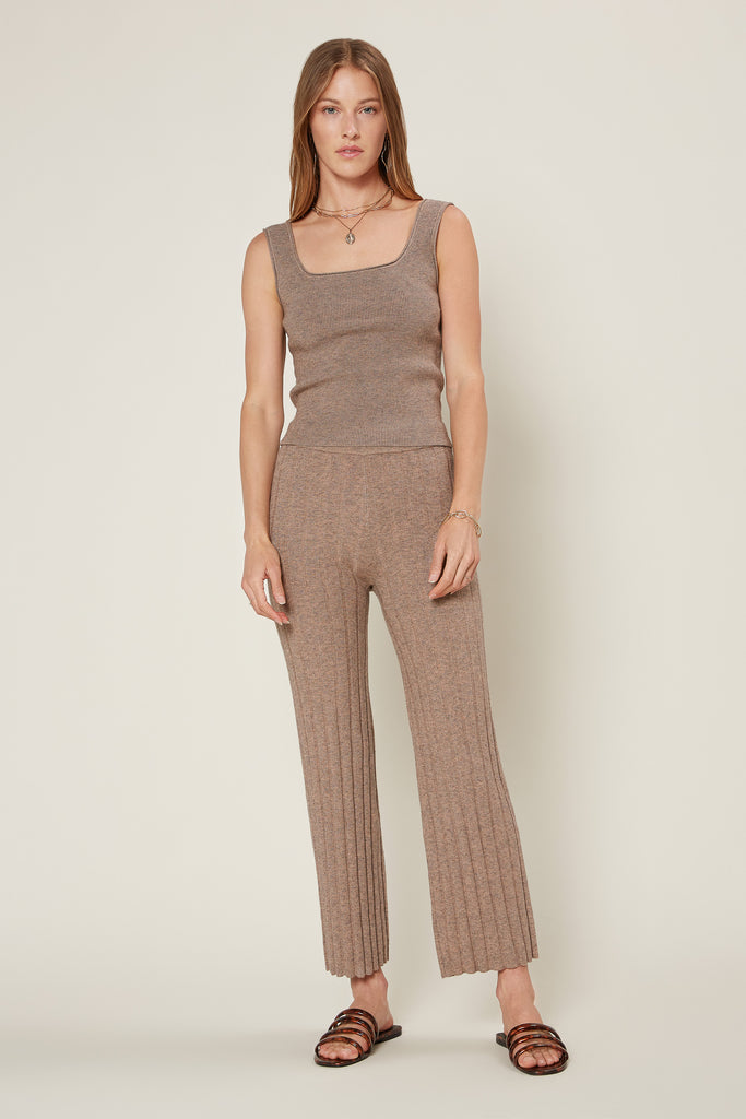 Melange Ribbed Knit Pants