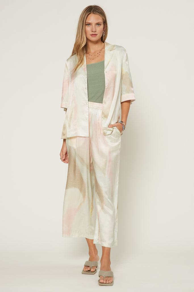Pastel Tie Dye Silk-blend Resort Pants