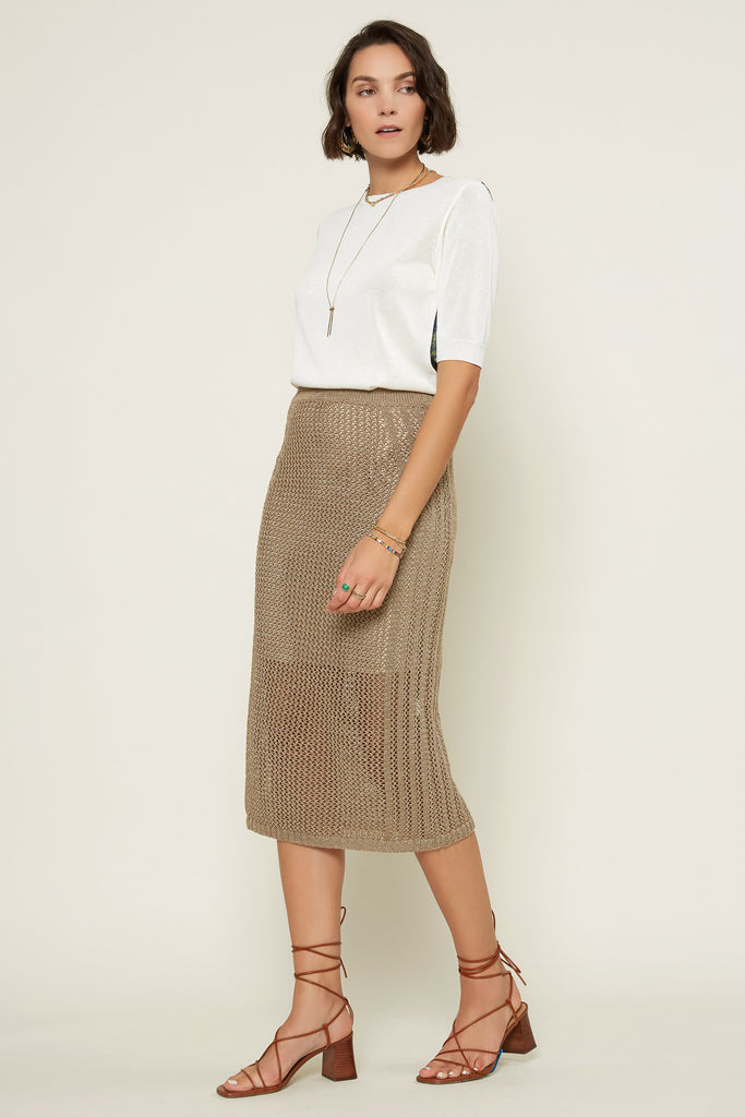 Fishnet Knit Pencil Skirt