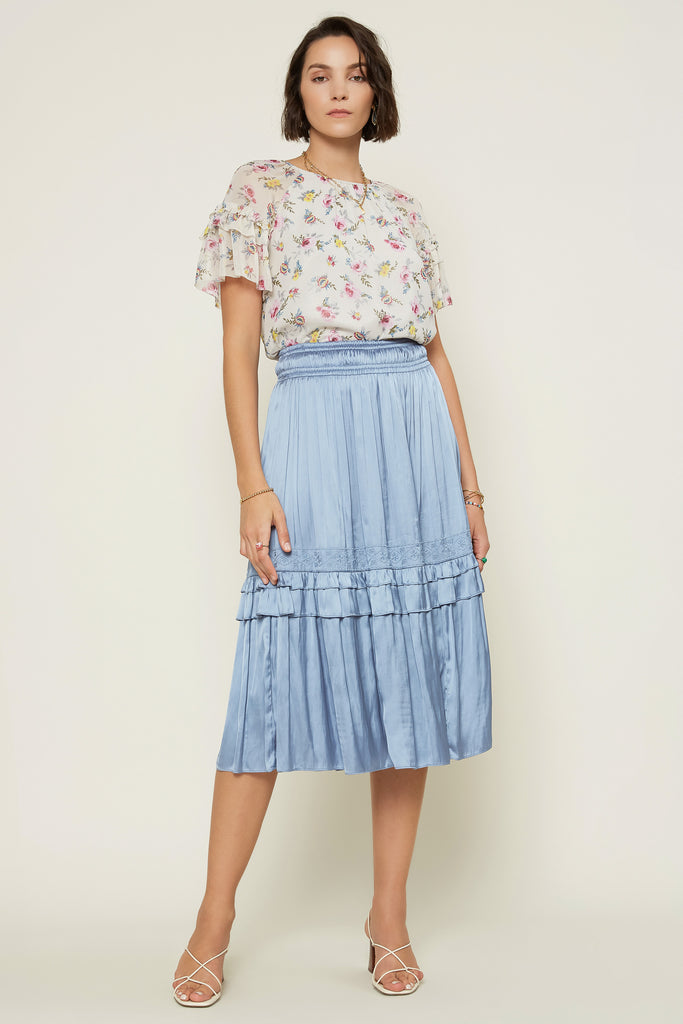 Satin Embroidery Detailed Skirt