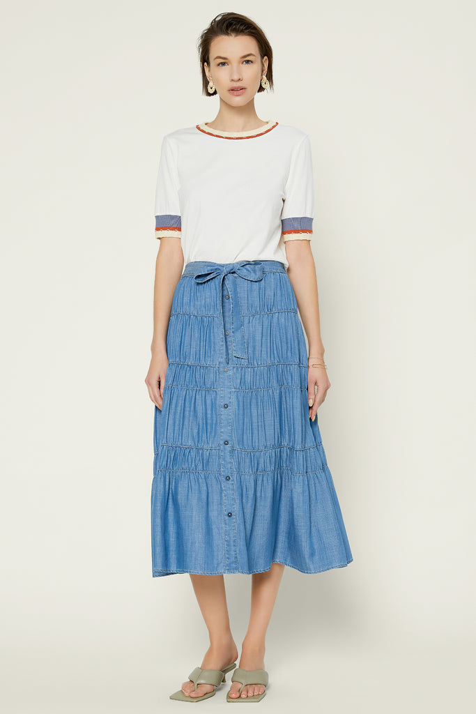 Waist Tie Chambray Midi Skirt