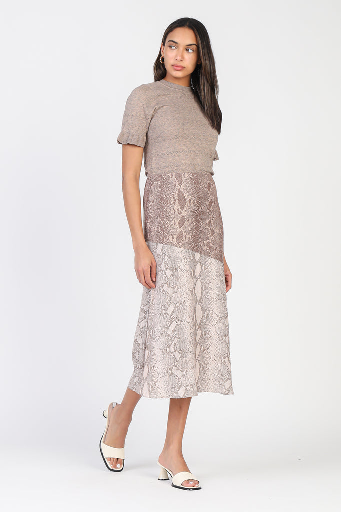 Two Tone Snakeskin Midi Skirt