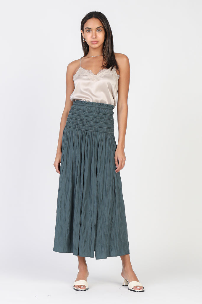 Crinkled Smocked Slit Midi Skirt