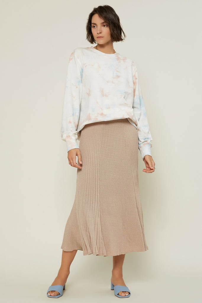 Pleated Midi Knit Skirt