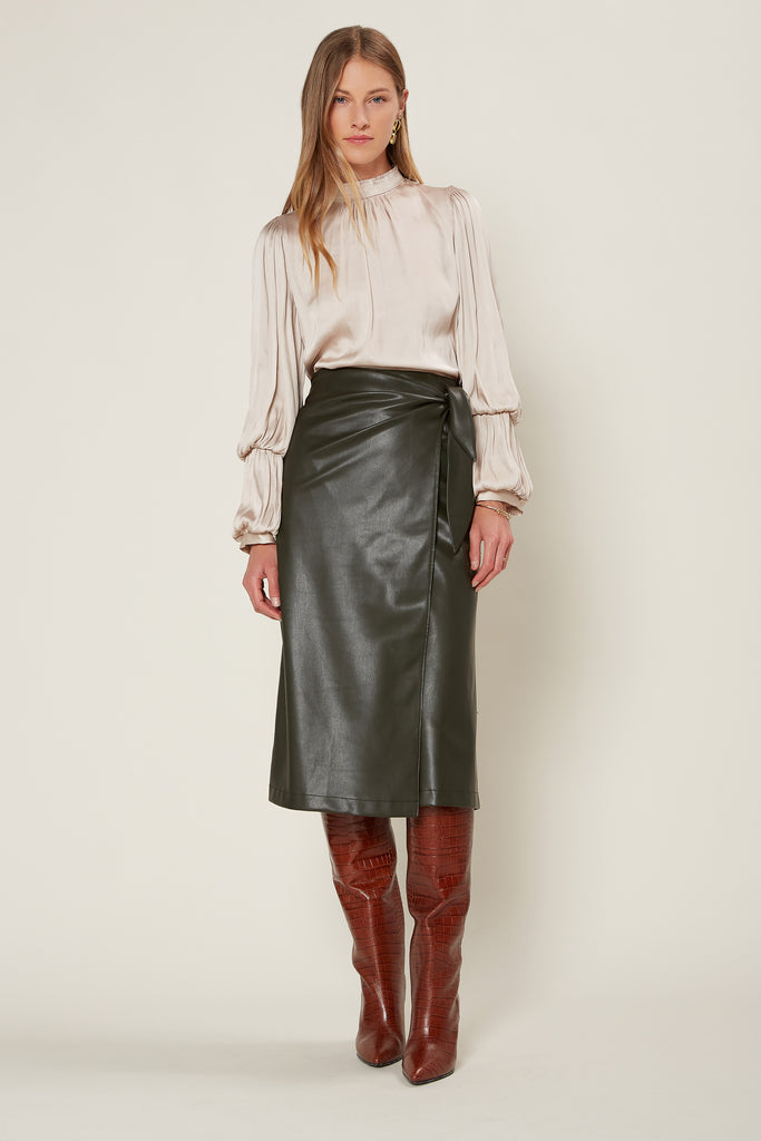 Faux Leather Wrap Midi Skirt