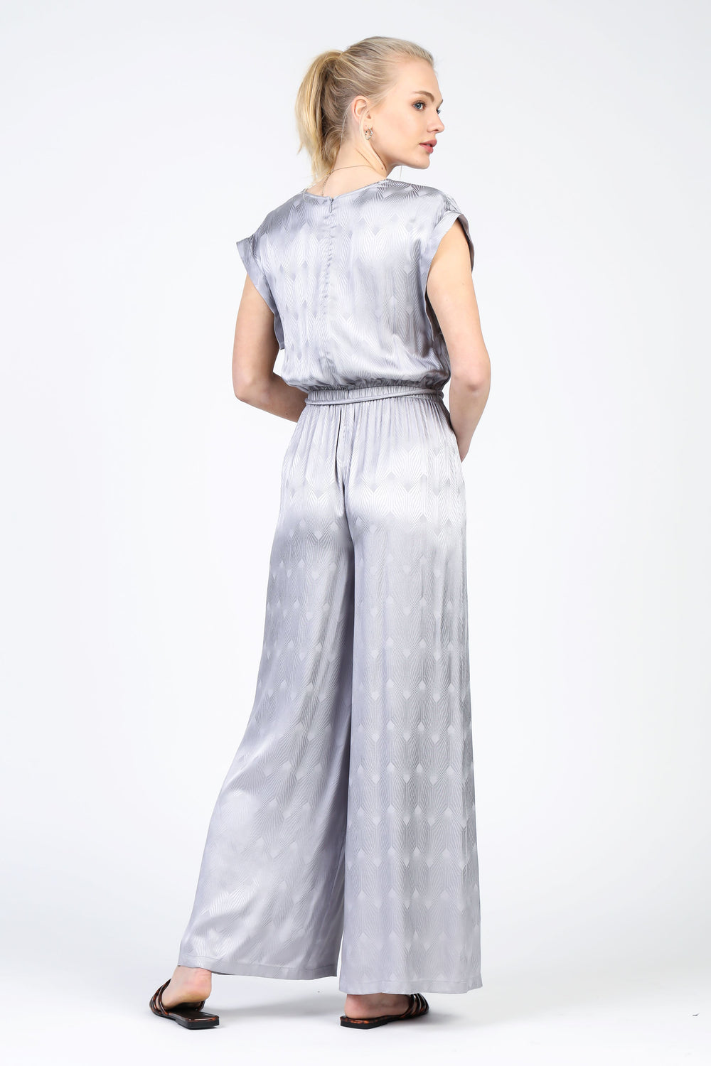 Wrap Front Satin Jumpsuit with Waist Band