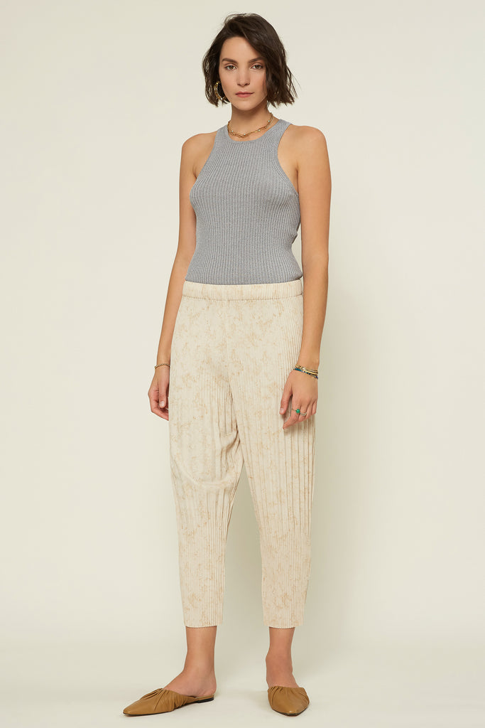 Marble Pleated Ankle Pants