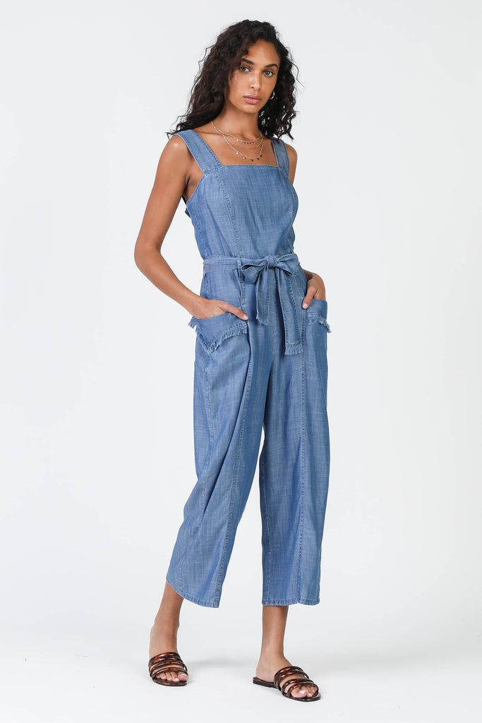 Square Neckline Jumpsuit with Frayed Edges