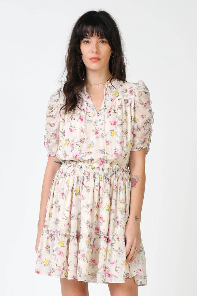 Ruched Sleeve Floral Dress