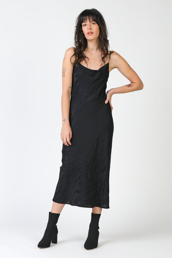 Cowl Neck Silk Slip Dress