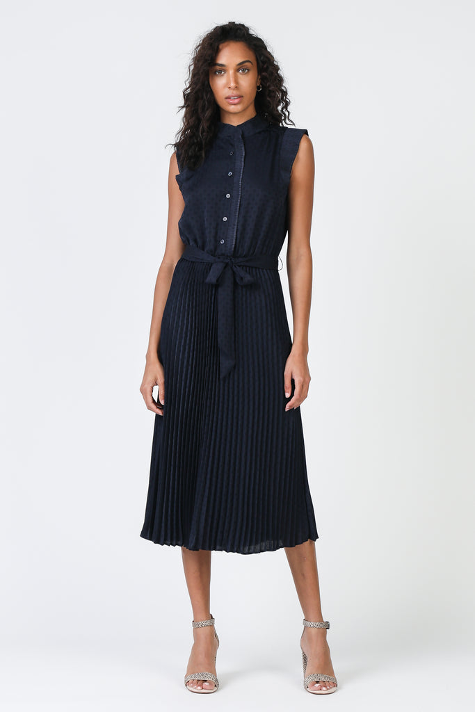 Mock Neck Pleated Dress