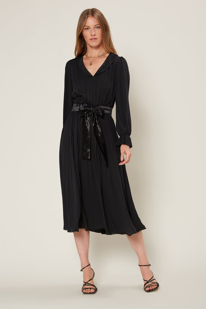 Pleated Midi Dress with Contrast Tie Belt