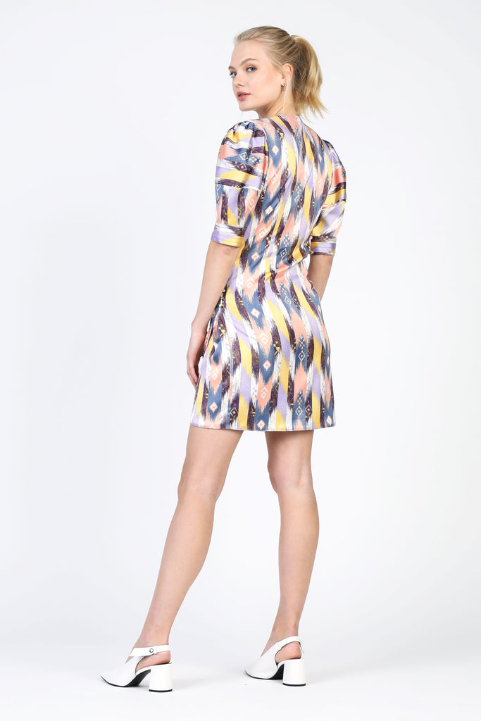 Geometric Pattern Mini Wrap Dress
