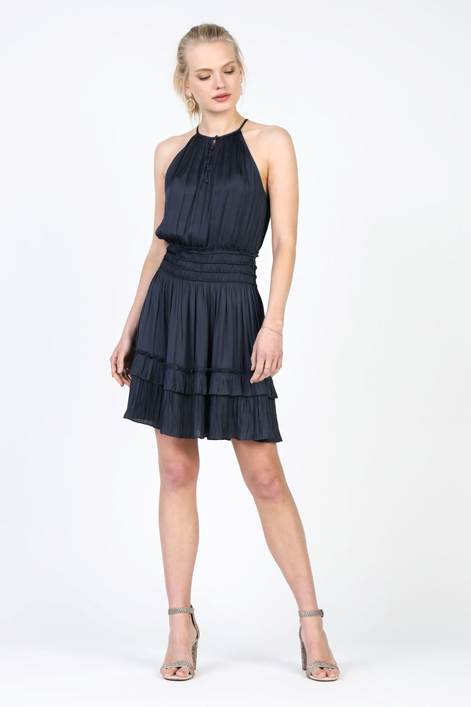 Halter Neck Pleated Mini Dress