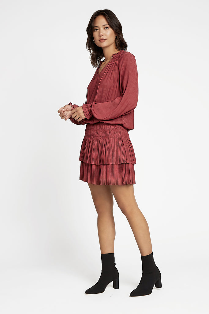 Redwood Pleated Mini Dress