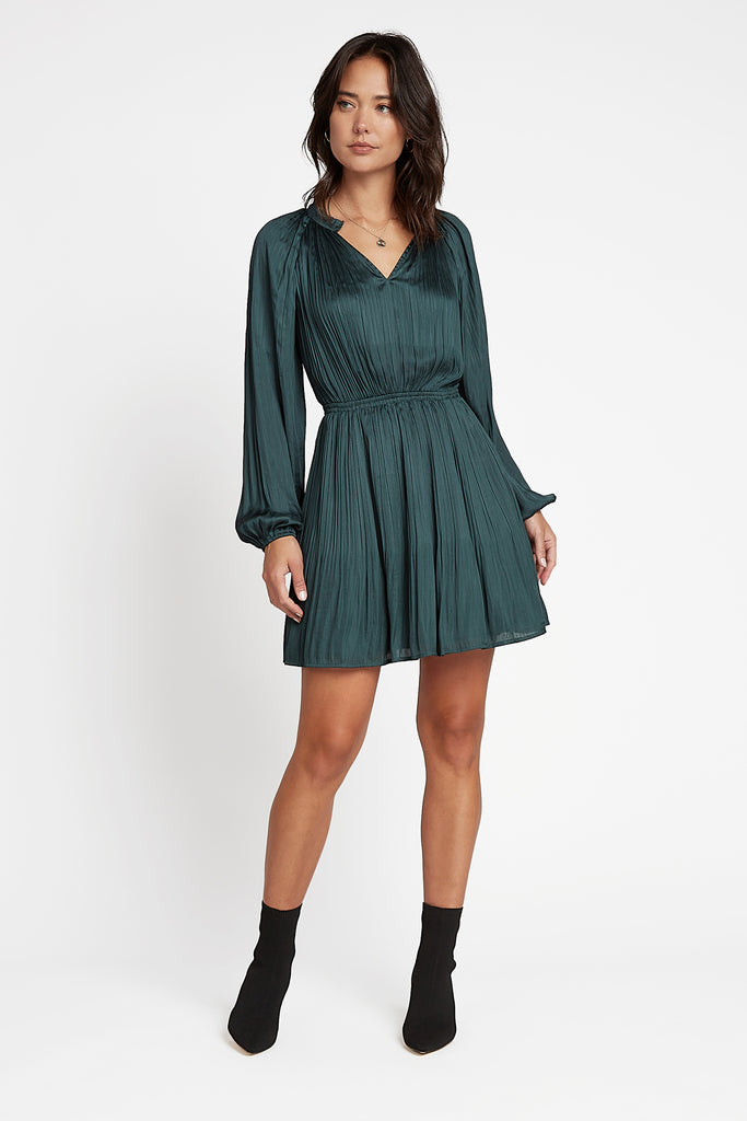 Split Neckline Pleated Mini Dress