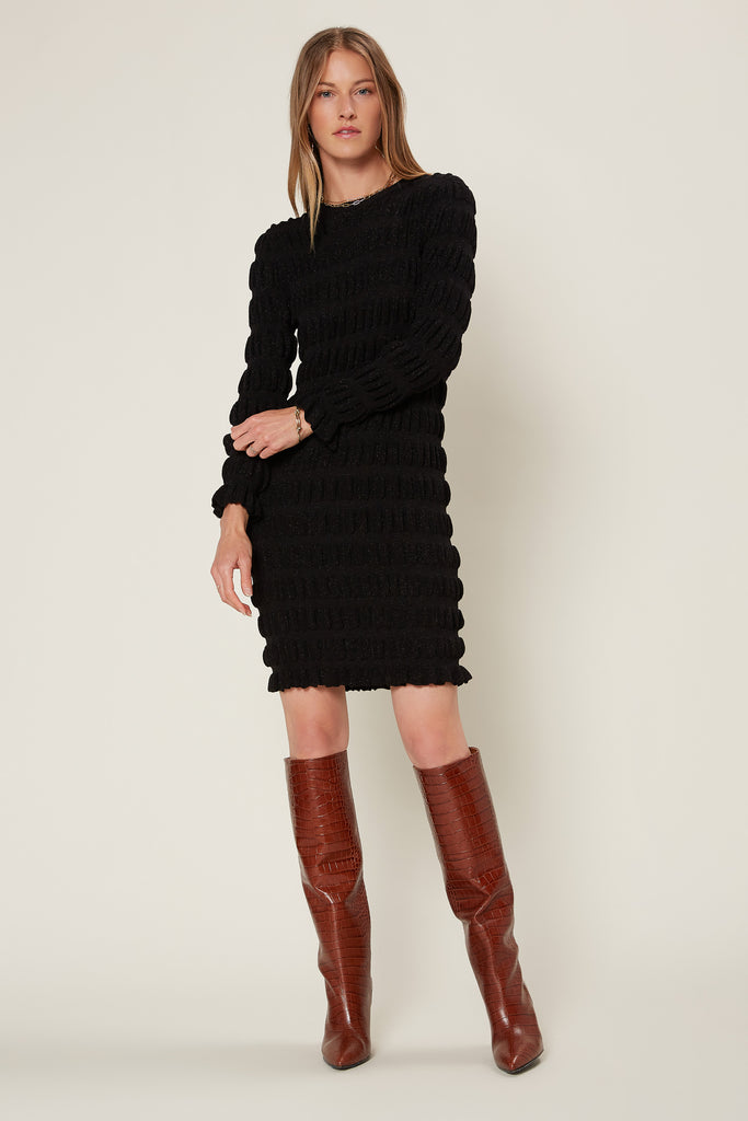 Metallic Puff Sweater Dress