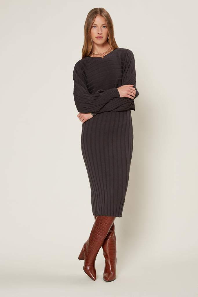 Ribbed Sweater Bodycon Midi Dress